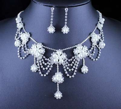 Romantic Pearl Austrian Rhinestone Necklace Earrings Set Wed Bridal Prom N11896