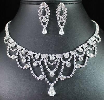 Pretty Austrian Rhinestone Necklace Earrings Set Wedding Bridal Prom Party N1898