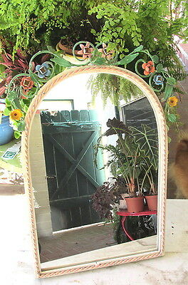 Gorgeous Shabby Tole Metal Arch Shape Wall Or Table Mirror