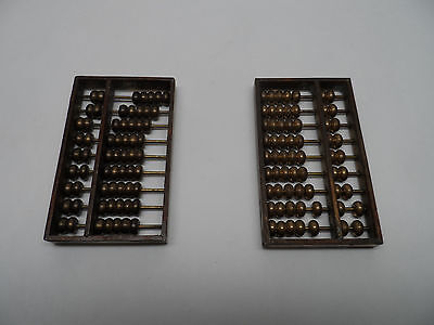 Two (2) Vintage Chinese or Japanese Brass ABACUS 3 x 1.75 x 3/8 in !