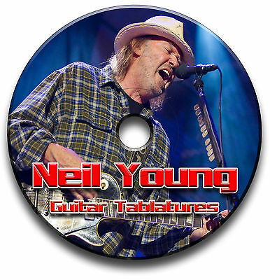 Neil Young Folk Country Rock Guitar Tabs Tablature Song Book Software Cd