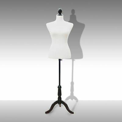 Adjustable Female Mannequin Torso Dress Form Display W/ Black Tripod Stand