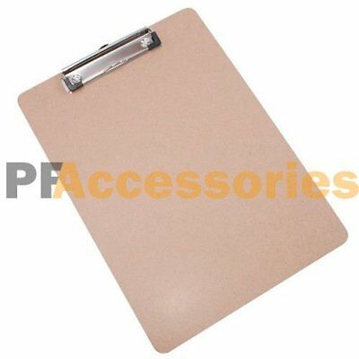 "12.5"" x 9"" inch Flat Clip Hardboard Clipboard Brown for Letter Size Paper NEW"