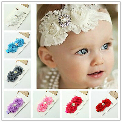 Newborn Baby Girls Cute Infant Flower Pearl Headband Elastic Hair Band Headwear