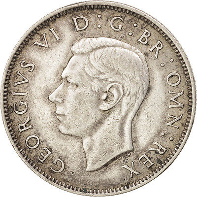 [#76169] GREAT BRITAIN, Florin, Two Shillings, 1943, KM #855, AU(50-53), Silver