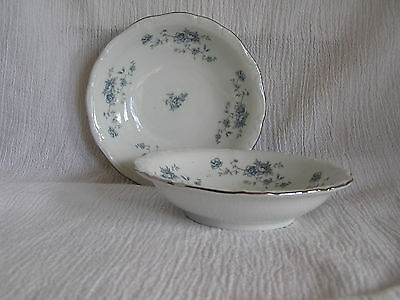 2 Vintage Johann Haviland Blue Garland Flowers Bavaria Germany Fruit Berry Bowls