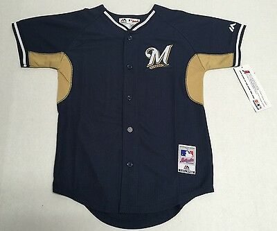 Milwaukee Brewers Authentic MLB Majestic Youth Kids Stitched Cool Base Jersey