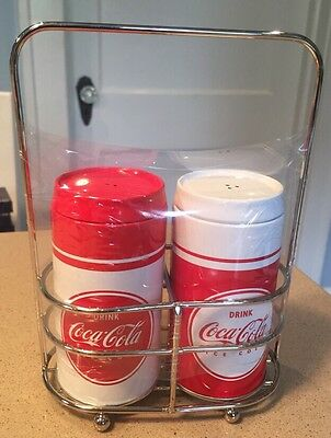 New Coca-Cola Tin Salt And Pepper Shakers With Holder