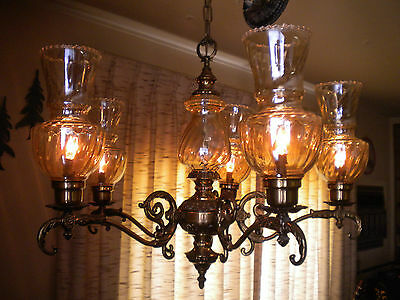 Ornate Brass 5 Arm Chandelier w/ Lustre Glass Globes by Thomas Industries, 25 in