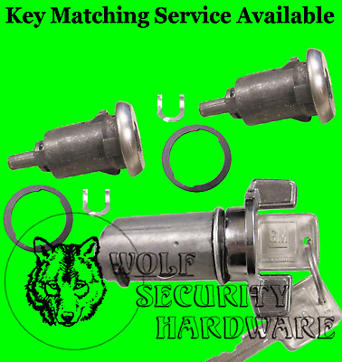Buick Cadillac Chevy OEM Chrome Ignition & Door Lock Key Cylinder Set 2 GM Keys