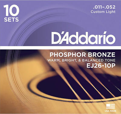 10 sets D'Addario EJ26 ProPack Custom Light Phos Bronze Acoustic Guitar Strings