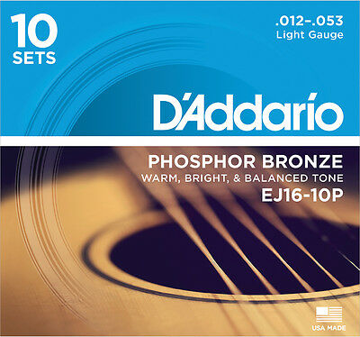 10 sets D'Addario EJ16 Phosphor Bronze Light Acoustic Guitar Strings ProPack