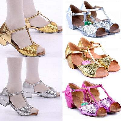 Kids Girls Women Ballroom Latin Salsa Tango Sequins Heeled Glitter Dance Shoes