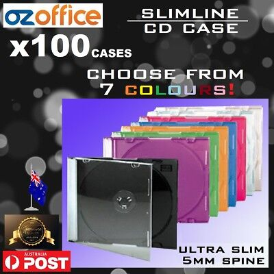 BRAND NEW 100 x Slim CD Jewel Case Slimline Single Colour Case Blue Green Purple