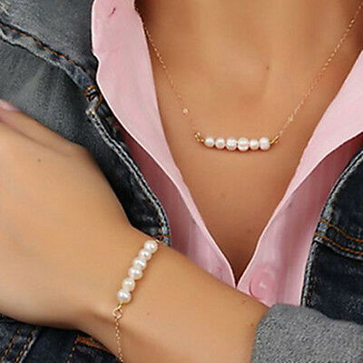 Women Pearl Pendant Gold Chain Choker Chunky Statement Bib Necklace + Bracelet