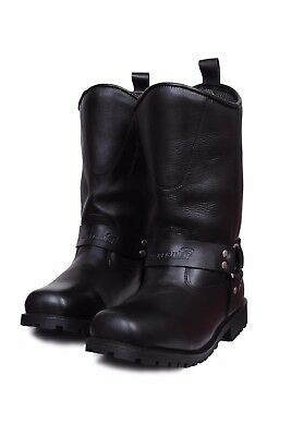 Mens Johnny Reb Style Leather Motorcycle Motorbike Biker Long Boots New Harness