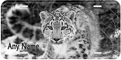 Snow Leopard B&W Any Name Personalized Novelty Car License Plate