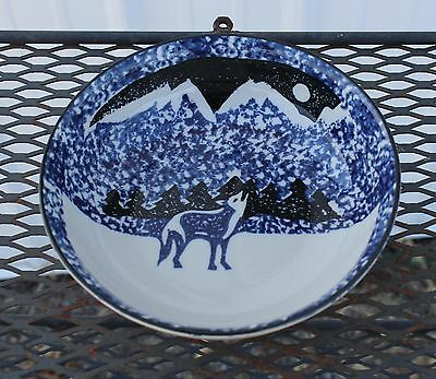 """Folkcraft """"Wolf"""" cereal/soup Bowl  by Tienshan 6 1/4"""""""