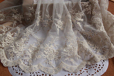 Vintage lace 1yard Embroidered Rose Florals Bridal Lace Craft Ivory Lace