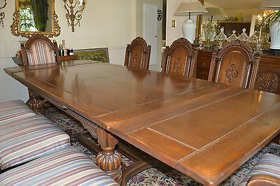 ANTIQUE OAK DINING ROOM SET12pc J.B. Van Sciver Co. Carved circa 1920 - ANTIQUE OAK DINING ROOM SET12pc J.B. Van Sciver Co. Carved Circa