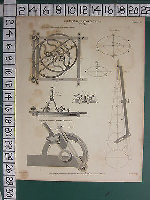 1815 Dated Antique Print Drawing Instruments Oval Fareys Elliptograph Protractor