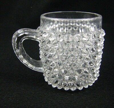 Antique EAPG Clear Glass - Child's Cup - Hobnail - Nickel Plate Glass Company
