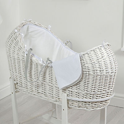 New 4Baby White Waffle White Wicker Baby Moses Basket / Snooze Pod With Mattress