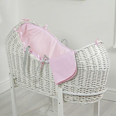 New 4Baby Pink Waffle White Wicker Baby Moses Basket / Snooze Pod With Mattress