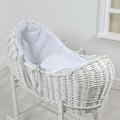 New 4Baby White Dimple White Wicker Baby Moses Basket / Noah Pod & Mattress