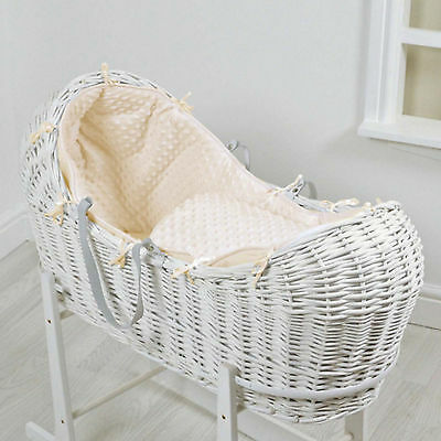 New 4Baby Cream Dimple White Wicker Baby Moses Basket / Snooze Pod & Mattress