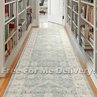 WISDOM BLUE GREY FLORAL TRADITIONAL FLOOR RUNNER 80x400cm **FREE DELIVERY**