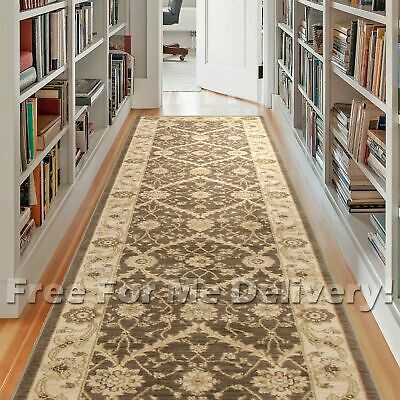 WISDOM BROWN CREAM FLORAL TRADITIONAL HALL RUNNER 80x500cm **FREE DELIVERY**