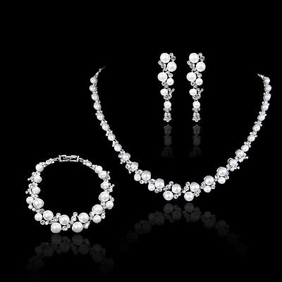 Elegant Pearl Crystal Wedding Party Prom Necklace Clip On Earrings Bracelet Set