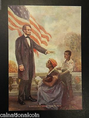 Lincoln Frees the Slave Small Vintage Lithograph