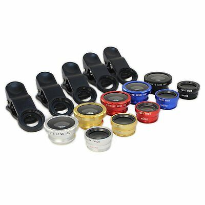 New Universal Clip On Camera Lens Kit Fish Eye Wide Angle Macro For Smart Phone