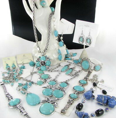 12 pc collection lot NEW turquoise bracelet necklace earrings sets reconstituted