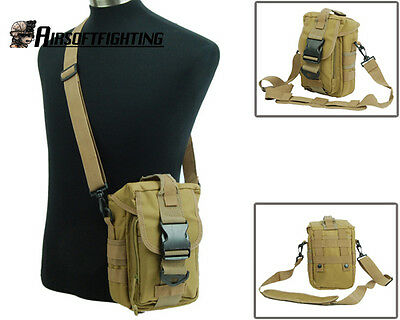 Military Outdoor Tactical Molle Utility Shoulder Bag Tool Mag Drop Pouch TAN