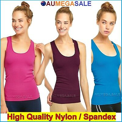 Ladies Exercise Singlet Tank Top Cami Tight Racerback Sport Wear Gym Spandex