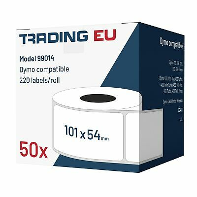 50x Label kompat. zu Dymo 99014 54x101mm 220 Label Etiketten pro Rolle
