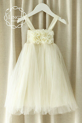 Ivory Flower Girl Tulle Dress Wedding Party Bridesmaid Formal Pageant Size 1