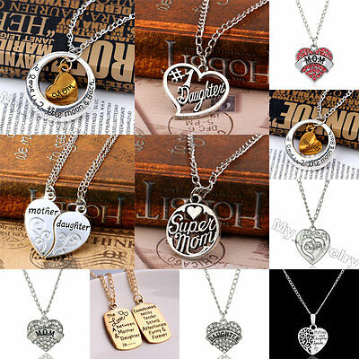 Crystal Heart Words Love Mom Mother Daughter Pendant Necklace Women Jewelry Gift