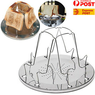 4 Foldable Stainless Steel Slice Bread Toaster Tray Rack Camp Stove Cooking Tool
