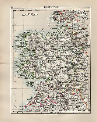 1904 Antique Map ~ Ireland West ~ Clare Mayo Tipperary Leitrim