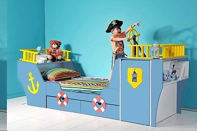 Pirate Ship Bed with Storage By Sleepland | Walnut Yellow Or Blue Boat Kids Beds