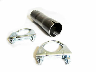 """Stainless Steel 304  50Mm 2"""" Inch Clamp On Exhaust Connector Sleeve Pipe Joiner"""