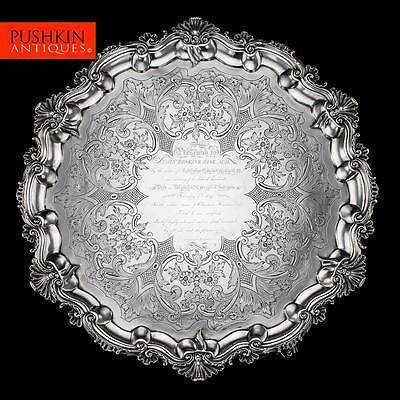 ANTIQUE 19thC WILLIAM IV SOLID SILVER LARGE SALVER TRAY, W BROWN c.1837