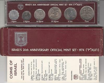 1974 Bank Of Israel Official Mint Set - 6 Marked Coins +Coa + Case