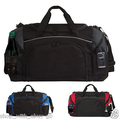Black Large Big Sports & Gym Holdall Bag - Travel Kit Work Duffel Team Training
