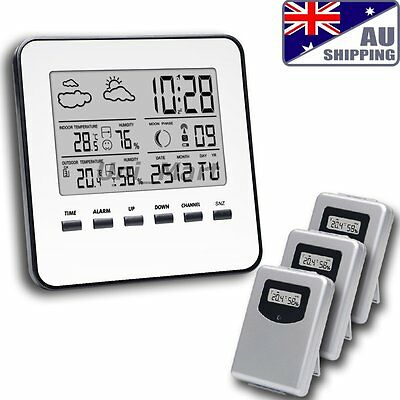 AU Weather Station Indoor Outdoor Temperature Humidity 3 Remote Sensors DCF RCC