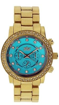 df669b99f087 Softech Gold Turquoise Blue Face Diamante Bracelet Analog Wrist Watch Quartz